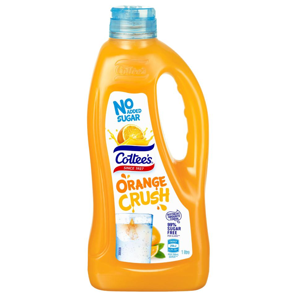 Cottees Cordial Orange Crush No Added Sugar 1 Litre