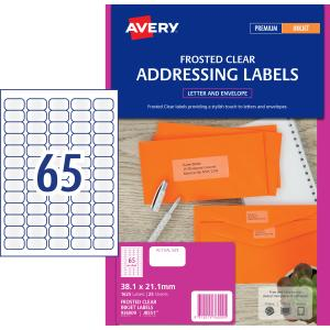 avery frosted clear address labels for inkjet printers 38 1 x 21 2