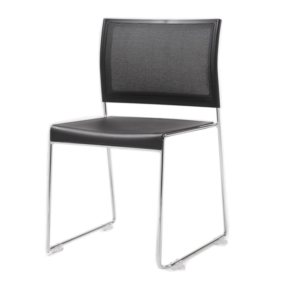Buro Icon Sled Base Mesh Back Visitor Chair with Silver Chrome Frame Black