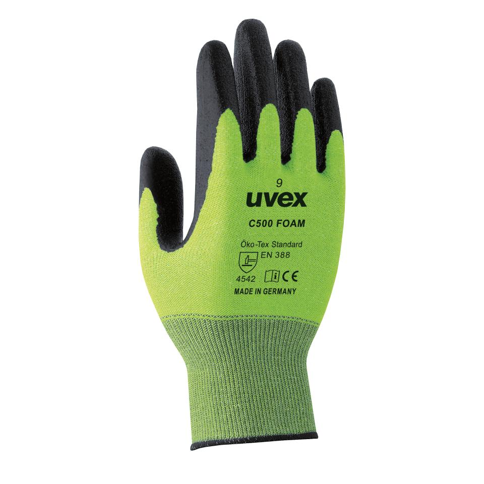 Uvex Hx60494 C500 Gloves Foam Cut 5 Hpe Palm Coated Lime Size 11 Pair
