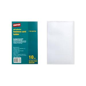 Staples Business Card Adhesive Pocket Top Opening Clear Pack 10