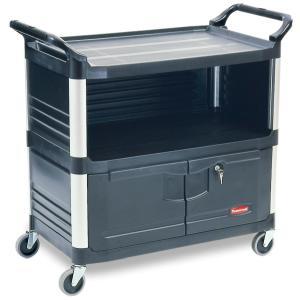 Rubbermaid Utility Cart 3 Sides Enclosed 4095 Black