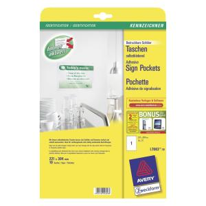 Avery 959177 Adhesive Sign Pockets 1 Sheet 221 x 304mm Pack 10