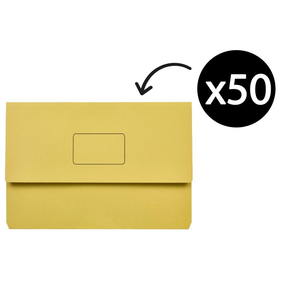 Marbig Slimpick Document Wallet Yellow Box 50