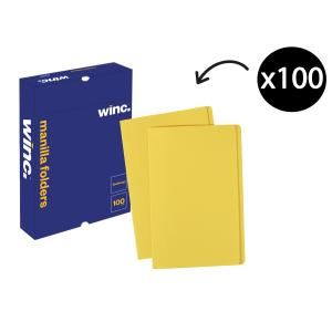 Winc Manilla Folder Foolscap Yellow Box 100