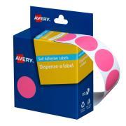 Avery Circle Dispenser Labels 24mm Diameter Pink 500 Labels