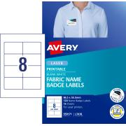 Avery Fabric Name Badge Labels for Laser Printers - 86.5 x 55.5mm - 120 Labels (L7418)