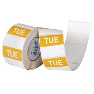 Avery Food Rotation Tuesday Day Label Removable Adhesive Yellow 40mm Square Roll 500