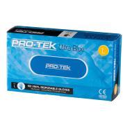Protek UItra Blue Disposable Vinyl Gloves Powder Free Blue Size Large Box 100