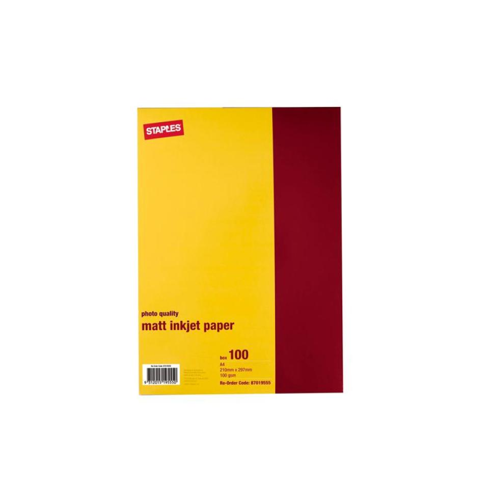 Winc Matt Inkjet Photo Paper A4 100gsm White Pack 100