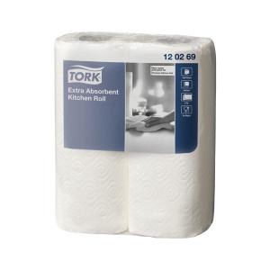 tork 2314025 kitchen roll towel extra absorbent 2 ply white 120 sheets x 8 rolls carton - Kitchen Roll