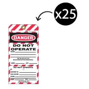 Brady 59390 2-part Lockout Tags Do Not Operate White/Black Pack 25