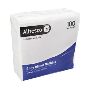 Alfresco Dinner Napkin 2 Ply 400x400mm Quarter Fold White Carton 1000