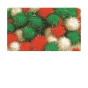 Colorific Glitter Pom Poms Assorted Sizes Christmas Colours Pack Of 138