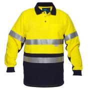 Prime Mover WW619A 100% Cotton Day Night Hi Vis Polo Shirt with Long Sleeves