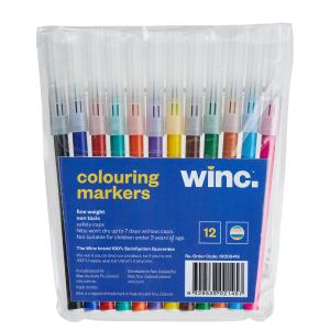 Winc Fine Coloured Markers Assorted Pack 12