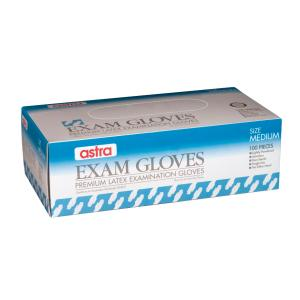 Astra Latex Exam Low Powdered Gloves Large Box 100
