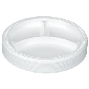 Castaway Superware Plastic Plates 3-Compartment 230mm White Pack 50 ...