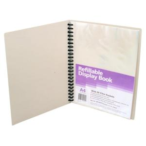 Winc Display Book A4 Refillable 20 Clear Pockets Grey