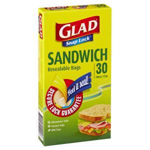 Glad Snap Lock Sandwich Bag Pack 30