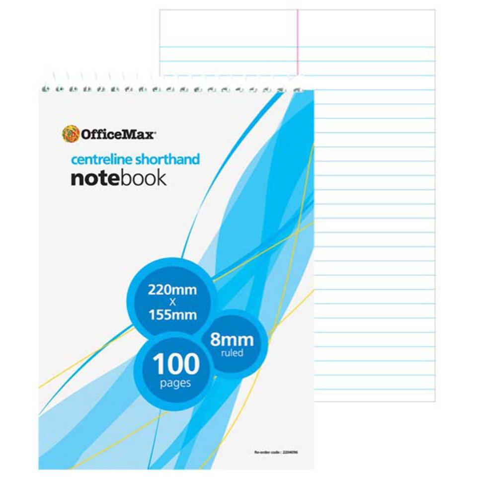 Officemax Centreline Notebook Shorthand Top Opening 220x155mm 100 Pages