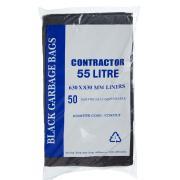 Austar Bin Liners Contractor Heavy Duty 55 Litre Black Packet 50 Carton 250