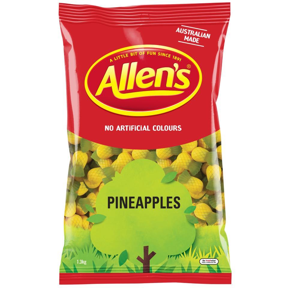 Allens Pineapples Lollies 1.3kg