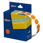 Avery Orange Circle Dispenser Labels - 14mm diameter - 1050 Labels