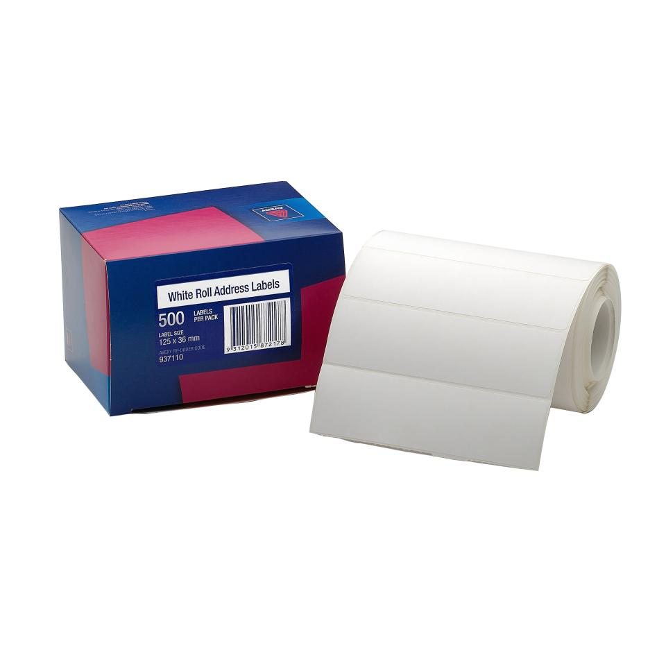 Avery Roll Address Labels - 125 x 36mm - 500 Labels - Hand writable