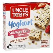 Uncle Tobys Yoghurt Topps Muesli Bar Strawberry 185g Box 6