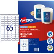Avery Removable Multi-purpose Labels - 38.1 x 21.2mm - 1625 Labels (L7651REV)