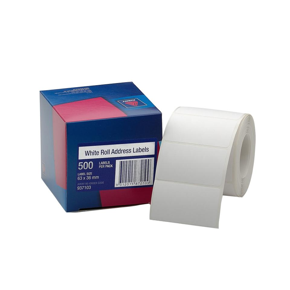Avery Roll Address Labels - 63 x 36mm - 500 Labels - Hand writable