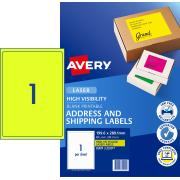 Avery Fluoro Yellow Shipping Labels for Laser Printers - 199.6 x 289.1mm - 25 Labels (L7167FY)