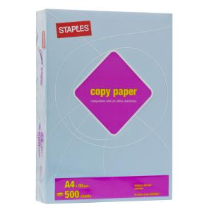Staples Tinted A4 Copy Paper 80gsm Blue Ream