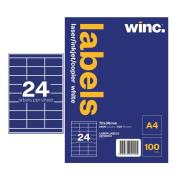 Winc Laser Labels 70x36mm 24 Per Sheet Pack of 100 Sheets