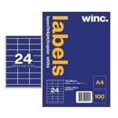 Winc Laser Labels 70x36mm 24 Per Sheet Pack of 100 Sheets