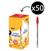 BIC Cristal Original Ballpoint Pen Medium 1.0mm Red Box 50