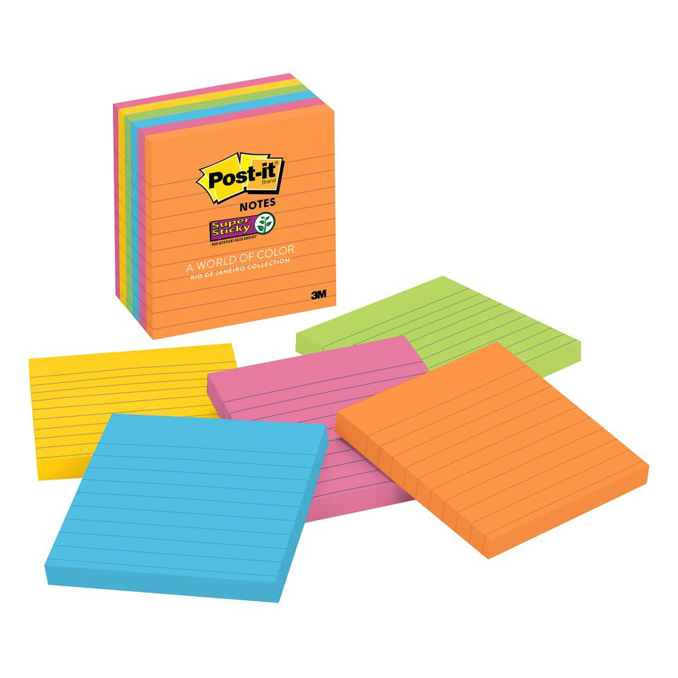 Post-it 675-6SSUC Super Sticky Rio de Janeiro Lined Notes 101 x 101mm 6 Pads