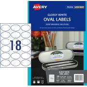 Avery Glossy Oval Labels - 63.5 x 42.3mm - 180 Labels (L7138)