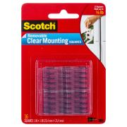 Scotch Removable Mounting Squares 25.4 x 25.4mm Clear Pack 16