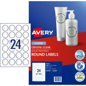 Avery 959164 Clear Round Laser Multi Labels 40mm Pack 10