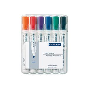 Staedtler 351 Lumocolor Whiteboard Marker Bullet Tip 2.0mm Assorted Colours Set 6