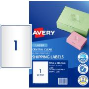 Avery Crystal Clear Shipping Labels for Laser Printers - 199.6 x 289.1mm - 25 Labels (L7567)