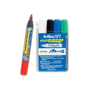 Artline 577 Whiteboard Marker Bullet Tip 2.0mm Assorted Colours Set 4