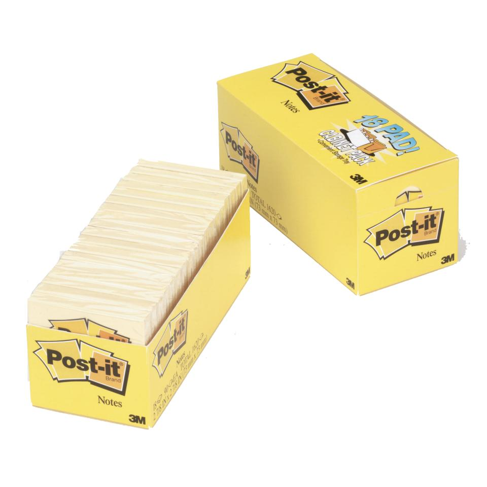Post-It Notes Yellow 76 x 76mm Cabinet Pack 18