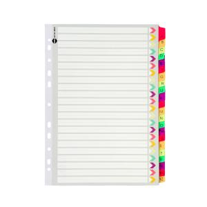 Marbig Dividers Manilla Plastic Fluoro Tab A4 White A-Z 22 Tab