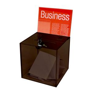 Esselte Suggestion/Ballot Box with Header Card & Lock Small Smoke
