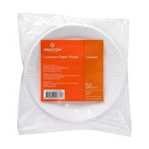 Brighton Professional Round Paper Luncheon Plate Uncoated 175mm White Pack 50
