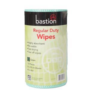 Bastion Regular Duty Wipes 65m Roll 130 Pieces 30X50cm Green Roll