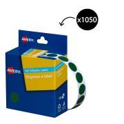 Avery Green Circle Dispenser Labels - 14mm diameter - 1050 Labels